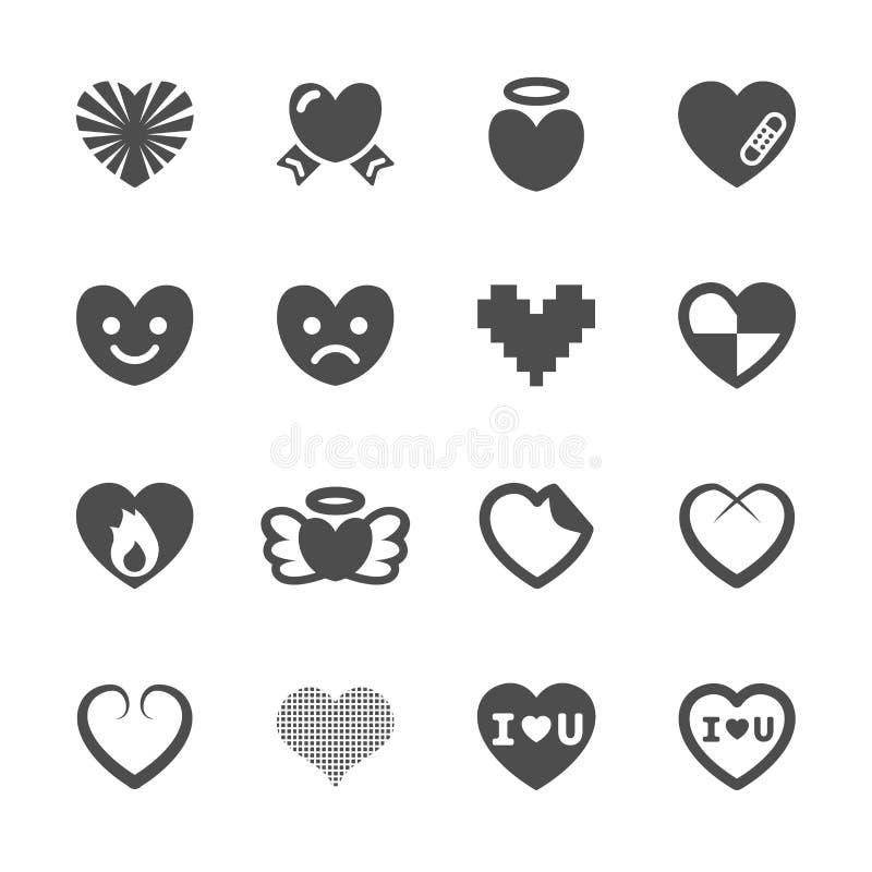 Hjärta- och valentindagsymbolen ställde in 3, vektorn eps10 stock illustrationer