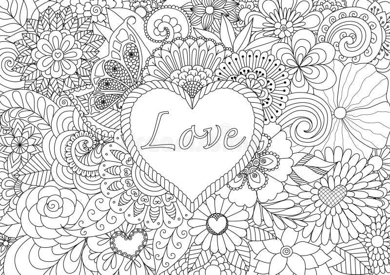Hjärta på blommor royaltyfri illustrationer