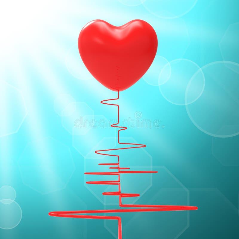 Hjärta på electroen betyder sunt förhållande eller stock illustrationer