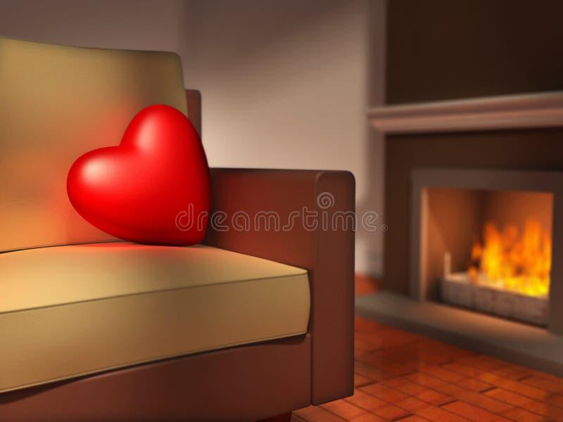 Hjärta på en sofa stock illustrationer