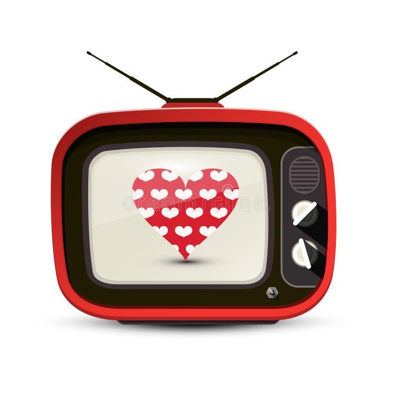 Hjärta på isolerad röd Retro TV royaltyfri illustrationer