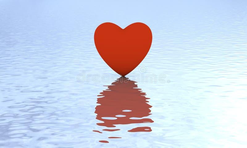 Hjärta på vatten med reflexion royaltyfri illustrationer
