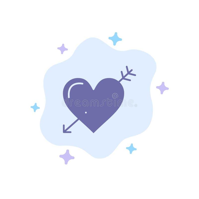 Hjärta pil, ferier, förälskelse, Valentine Blue Icon på abstrakt molnbakgrund vektor illustrationer