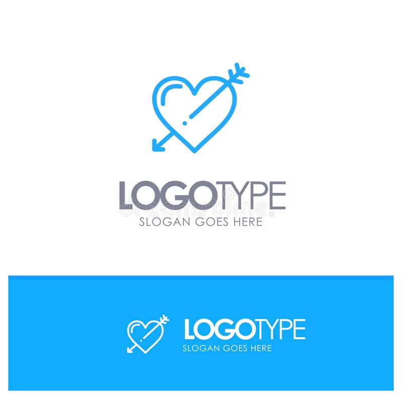 Hjärta pil, ferier, förälskelse, Valentine Blue Outline Logo Place för Tagline royaltyfri illustrationer