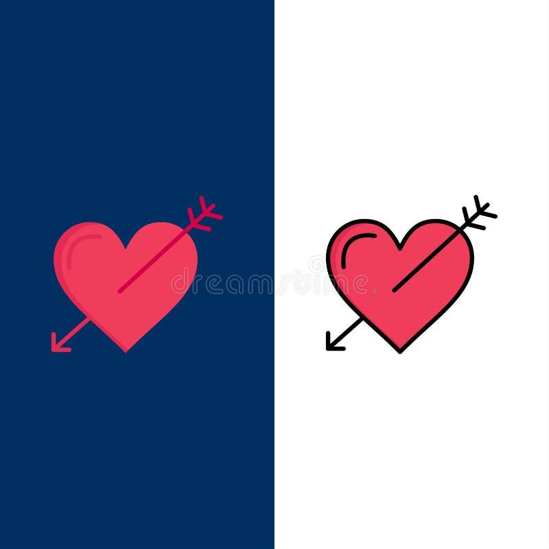Hjärta pil, ferier, förälskelse, Valentine Icons Lägenheten och linjen fylld symbol ställde in blå bakgrund för vektorn vektor illustrationer