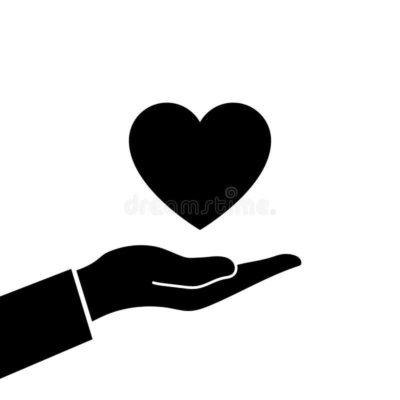 Hjärta räcker in stock illustrationer
