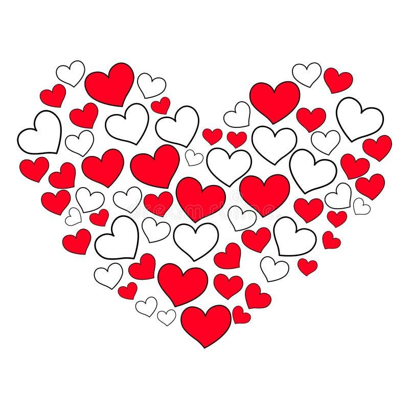 Hjärta Shape som fylls med hjärta vektor illustrationer