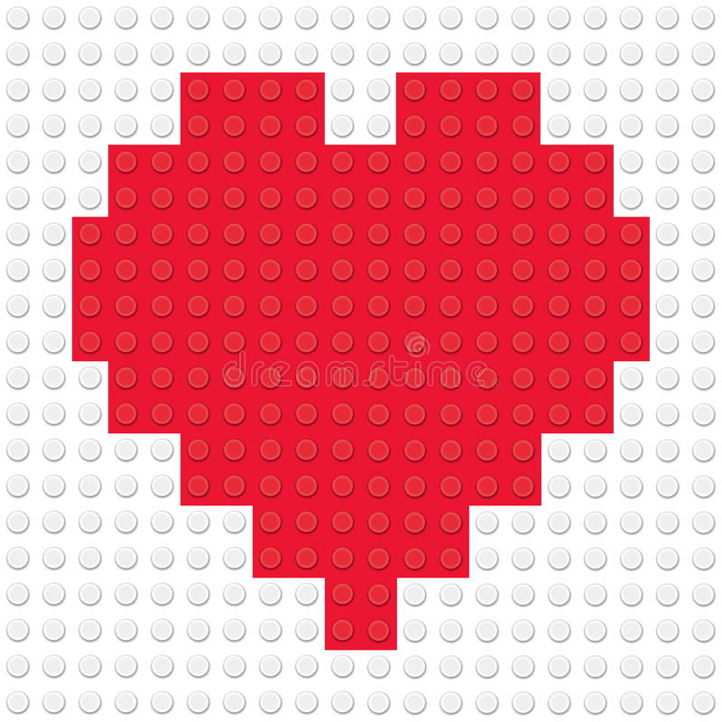 Hjärta Shape som skapas från byggnadsleksaktegelstenar royaltyfri illustrationer
