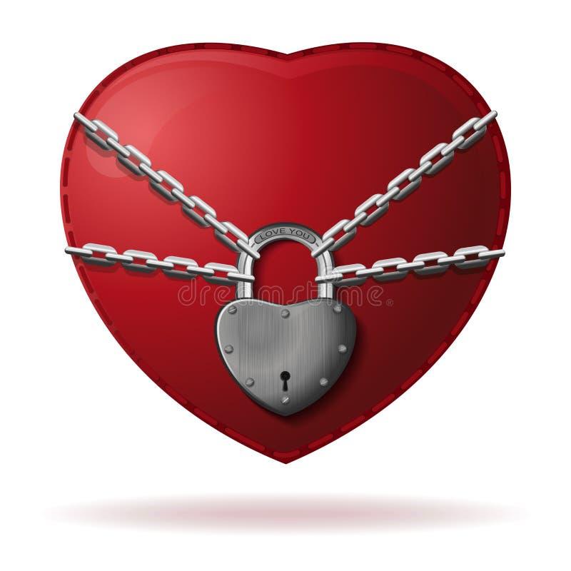 Hjärta slås in med en kedja och låsas stock illustrationer