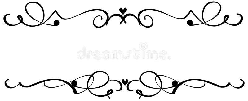 hjärta smyckar scrollen stock illustrationer