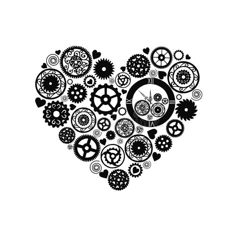 Hjärta som består av kugghjul i den viktorianska stilen, dragen hand vektor stock illustrationer