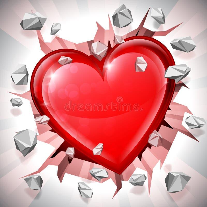 Hjärta som bryter till och med väggen vektor illustrationer