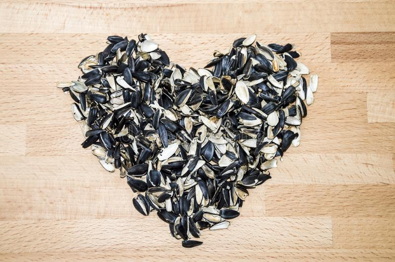 Hjärta som fodras med skal av solrosfrö på en bakgrund av bokskog arkivfoto