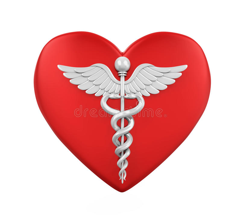Hjärta som formas med Caduceusläkarundersökningsymbol stock illustrationer