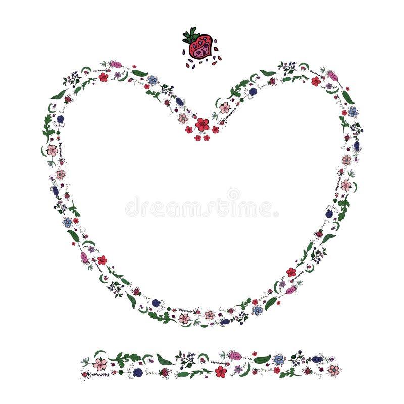 Hjärta som göras av blommor och bär, i att klottra stil och den enless gränsen royaltyfri illustrationer
