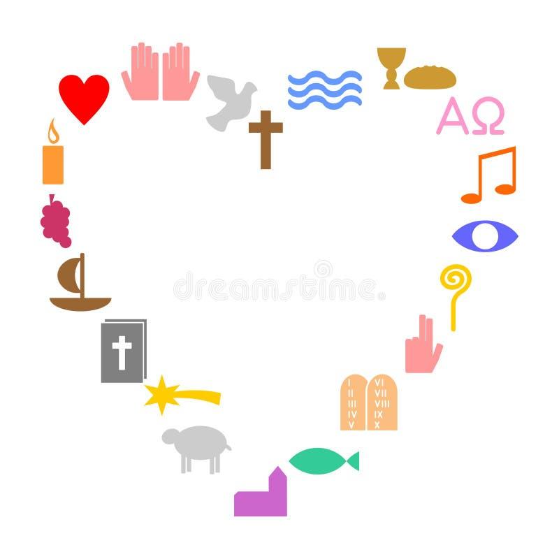 Hjärta som göras av färgrika kristna symboler royaltyfri illustrationer