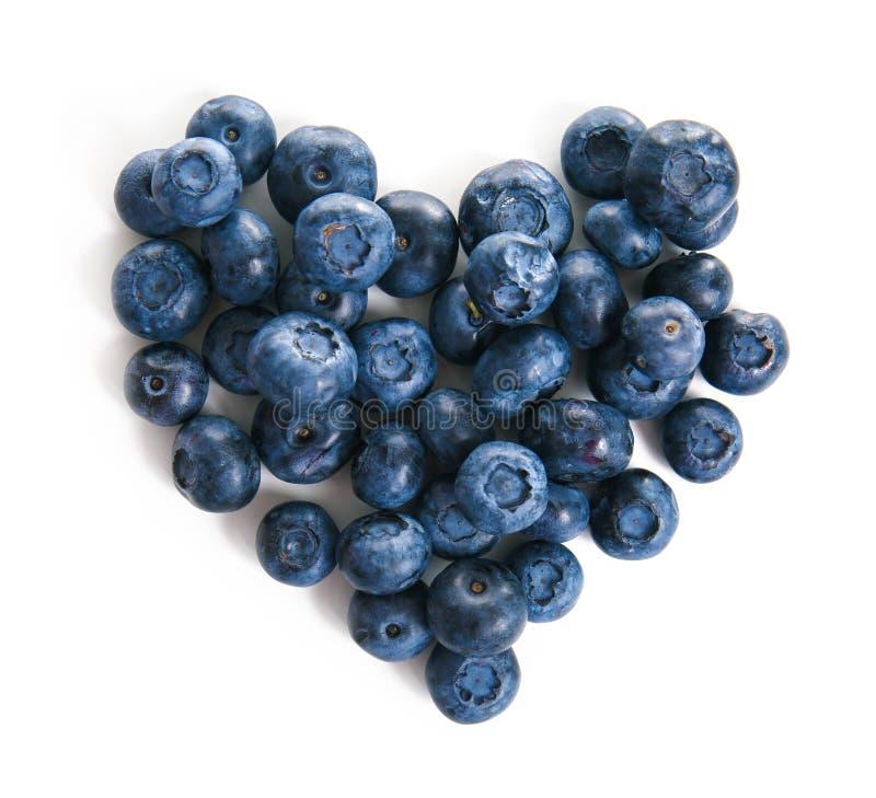 Hjärta som göras av mogna blåbär på vit bakgrund fotografering för bildbyråer