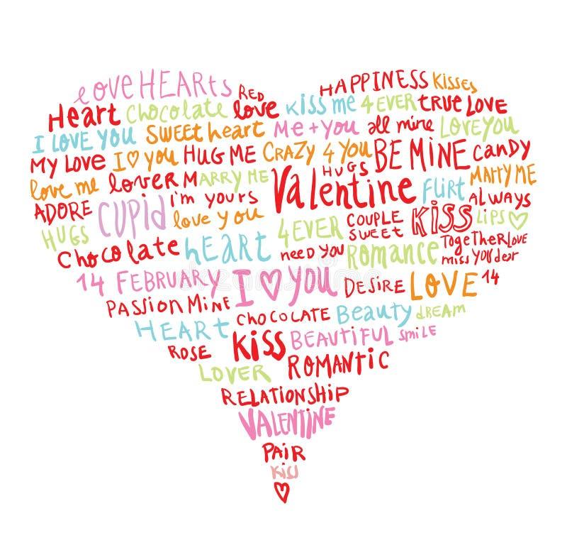 Hjärta som göras av ord förälskelse, vektorillustration vektor illustrationer
