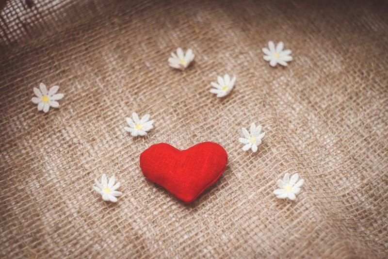 Hjärta som göras med händer med blommor arkivbilder