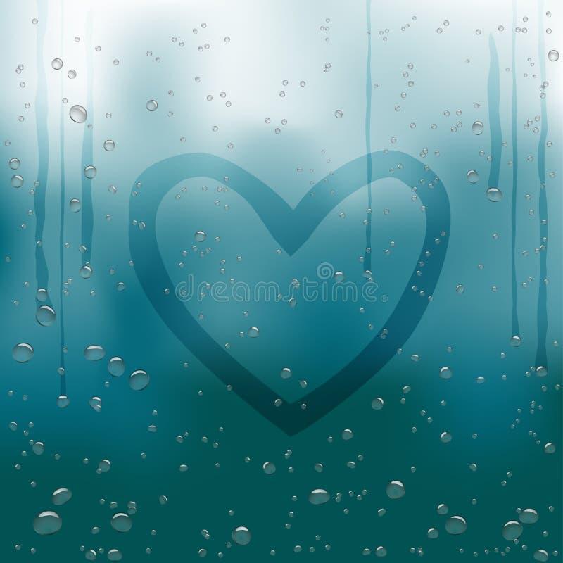 Hjärta som målas på regnigt fönster royaltyfri illustrationer
