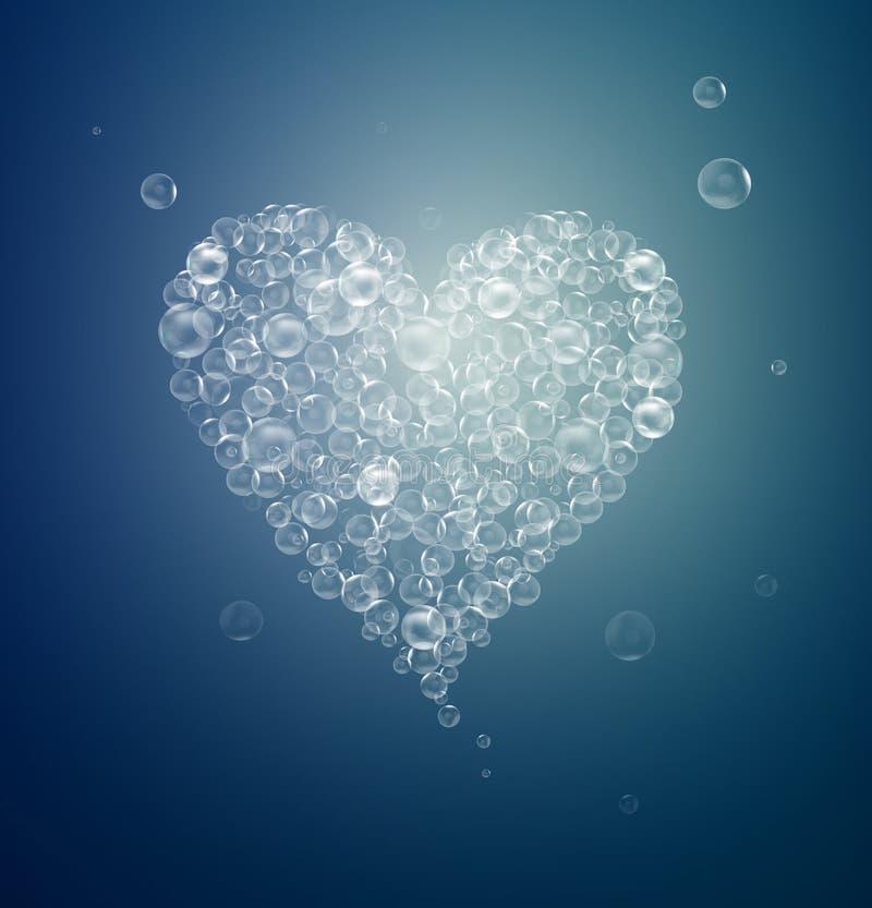 Hjärta som skapas med bubblor, instabilt förälskelsebegrepp, föränderliga känslor, valentinsymbol, royaltyfri illustrationer