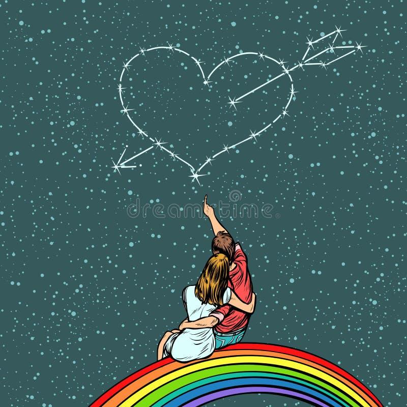 Hjärta som trängas igenom av en pil över ett förälskat par royaltyfri illustrationer