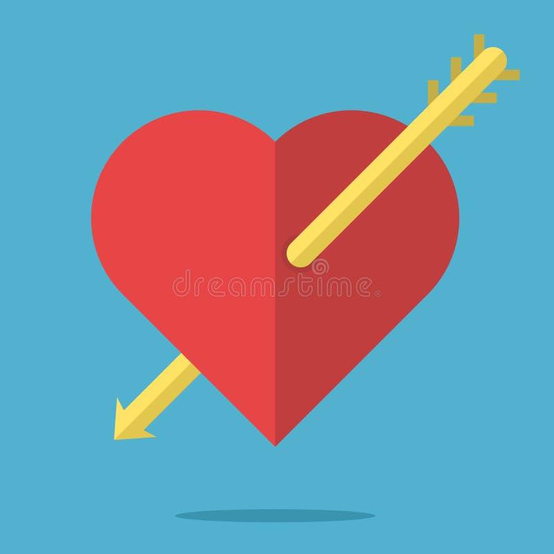 Hjärta som trängas igenom av pilen stock illustrationer
