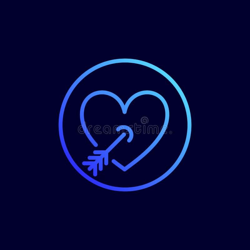 Hjärta som trängas igenom med pilsymbolen Vektorillustration i den plana linjen stil royaltyfri illustrationer
