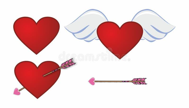 Hjärta stor röd hjärta för förälskelse för förälskelseängelvingar gåva vektor illustrationer