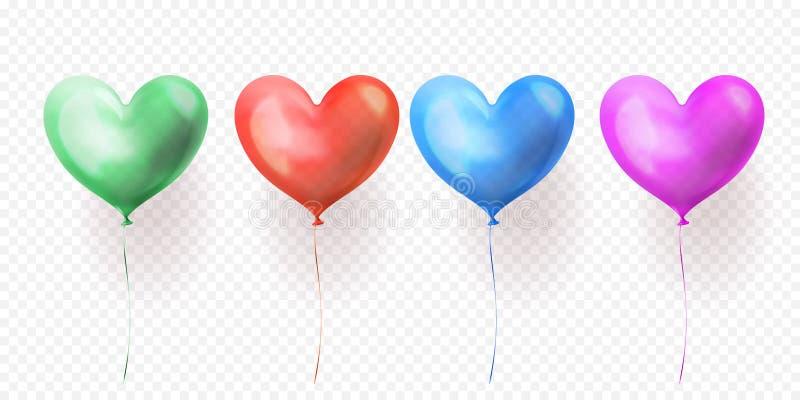 Hjärta sväller den genomskinliga uppsättningen av isolerade glansiga ballons för design för valentindag-, bröllop- eller födelsed stock illustrationer