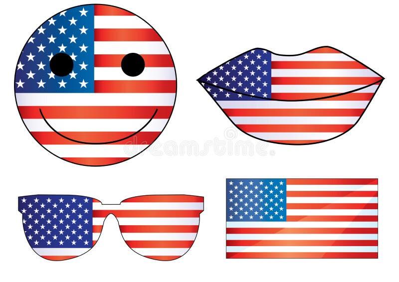 Hjärta 4th för självständighetsdagen för vektorUSA kanter av den Julys smileyJuli 4th fjärdedelen av Juli sjunker jpgen för eps f royaltyfri illustrationer