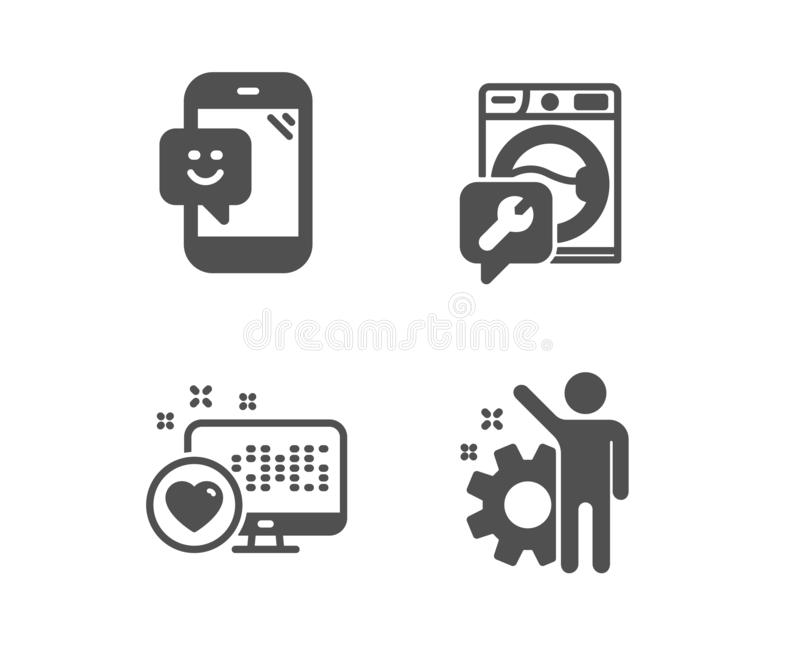 Hjärta-, tvagningmaskin och leendesymboler Anst?lldtecken Socialt massmedia, reparationsservice, telefonåterkoppling cogwheel vek vektor illustrationer