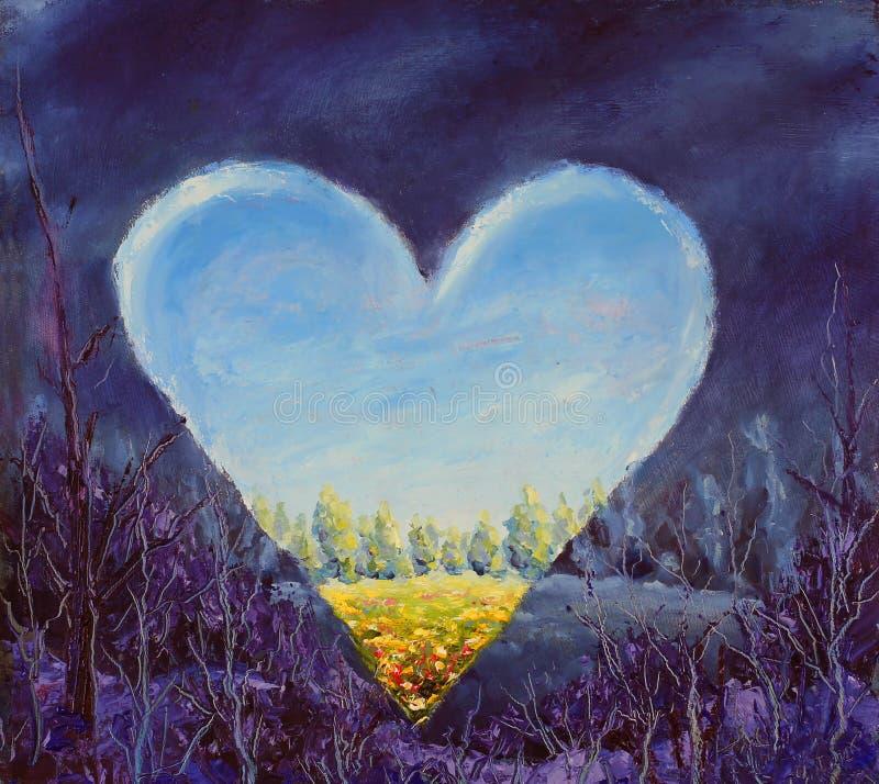 Hjärta vårhjärta på kanfas öppen hjärta Knivkonst vektor illustrationer