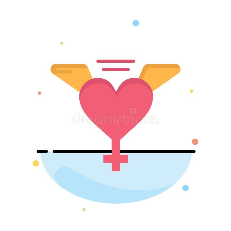 Hjärta vingar, för färgsymbol för förälskelse abstrakt plan mall vektor illustrationer