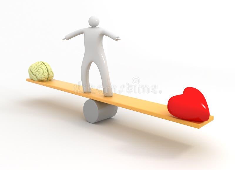 Hjärta vs varar besvärad royaltyfri illustrationer