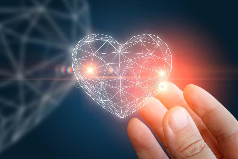 Hjärtaabstrakt begreppform i handen arkivfoto