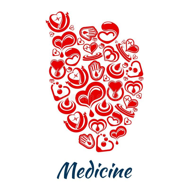 Hjärtaaffisch av kardiologi- och blodvektorobjekt royaltyfri illustrationer