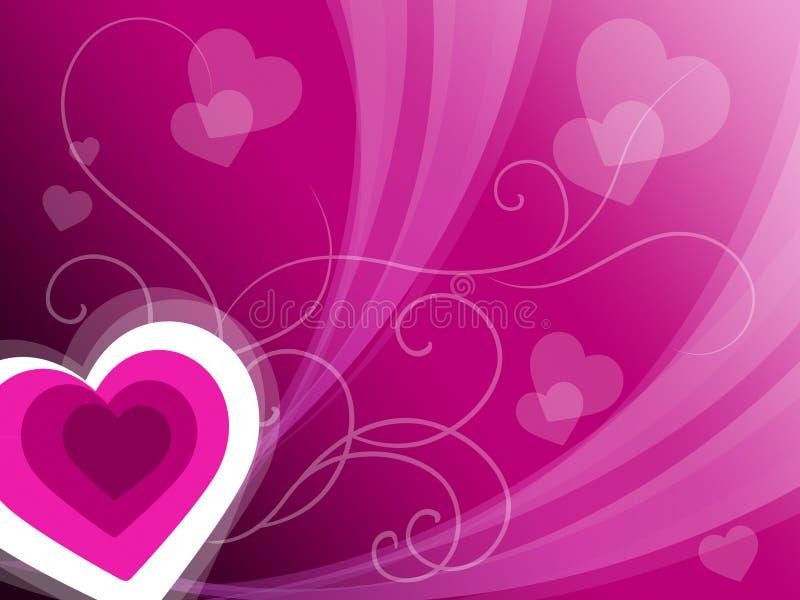 Hjärtabakgrund betyder rosa valentin eller årsdagkortet vektor illustrationer