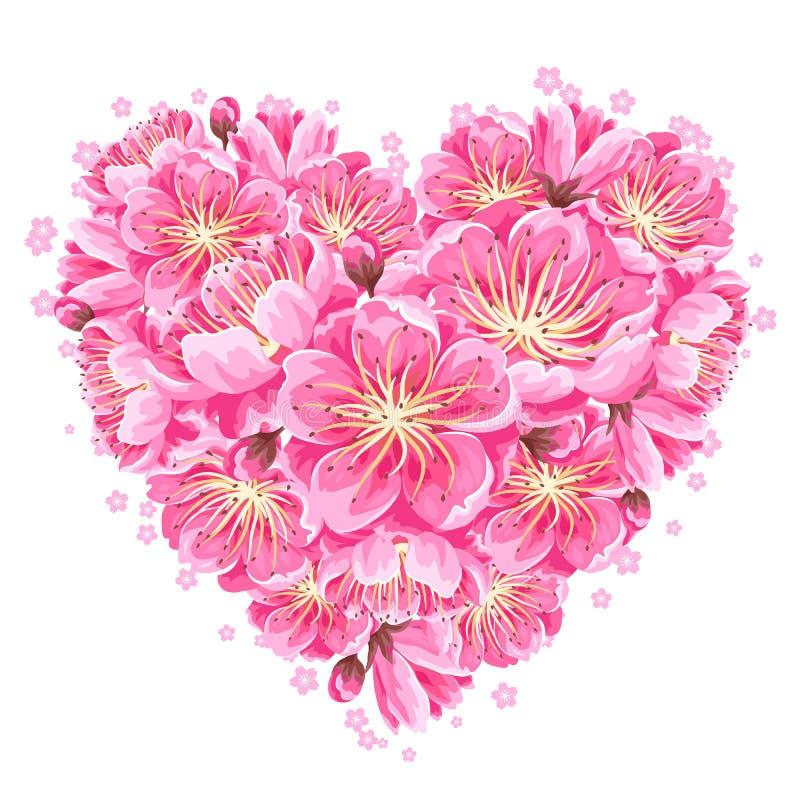 Hjärtabakgrund med sakura eller den körsbärsröda blomningen Blom- japansk prydnad av att blomma blommor royaltyfri illustrationer