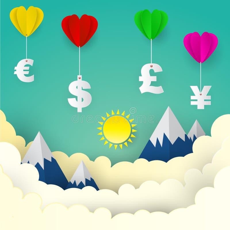 Hjärtaballong med US dollar, euro, Storbritannien pund, japan stock illustrationer