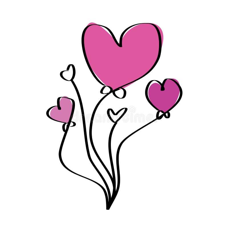 Hjärtaballonger vektor illustrationer