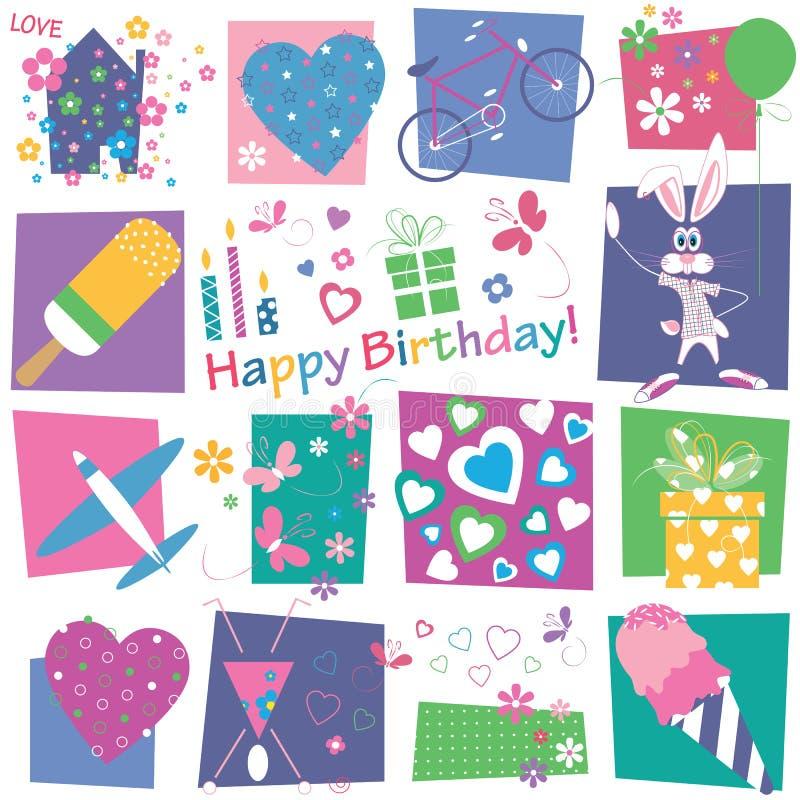 Hjärtablomma- och för födelsedaggåvor bakgrund vektor illustrationer