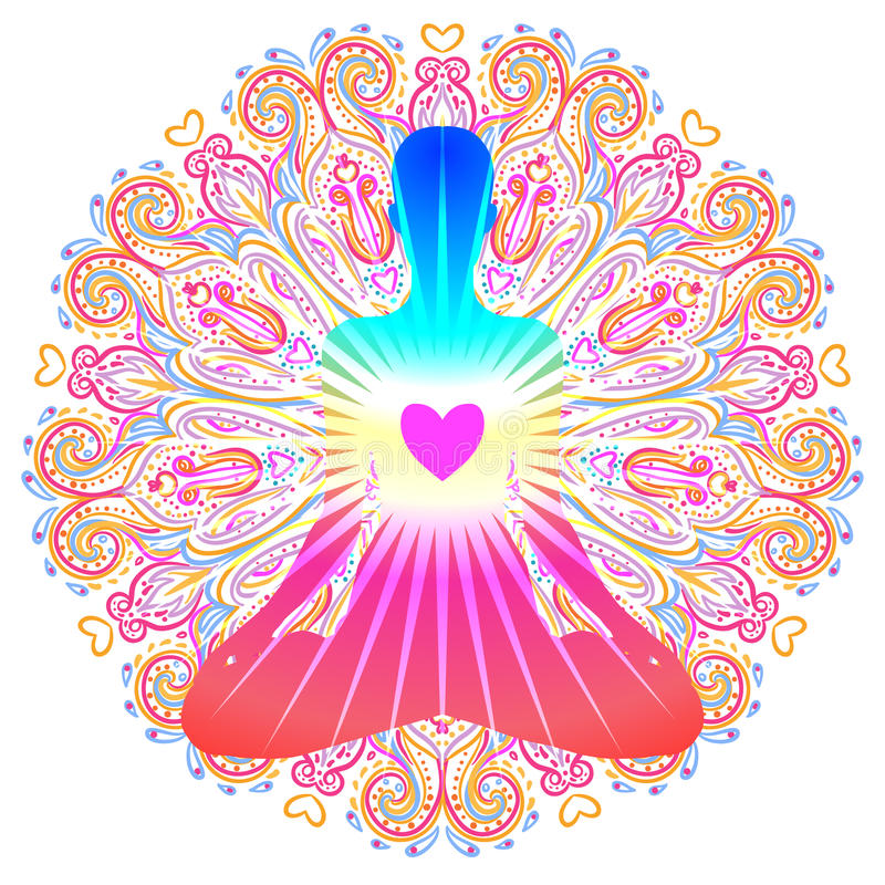 HjärtaChakra begrepp Inre förälskelse, ljus och fred Kontur in stock illustrationer