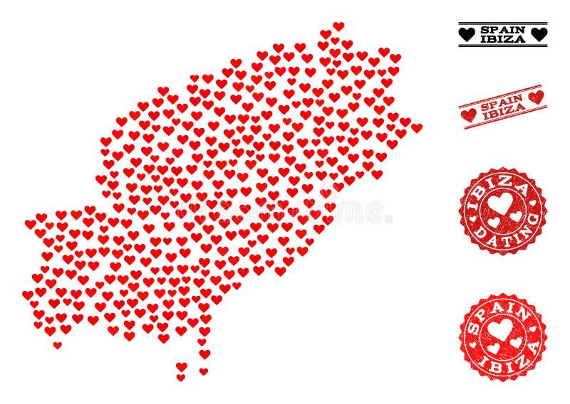 Hjärtacollageöversikt av Ibiza ö- och Grungestämplar för valentin stock illustrationer