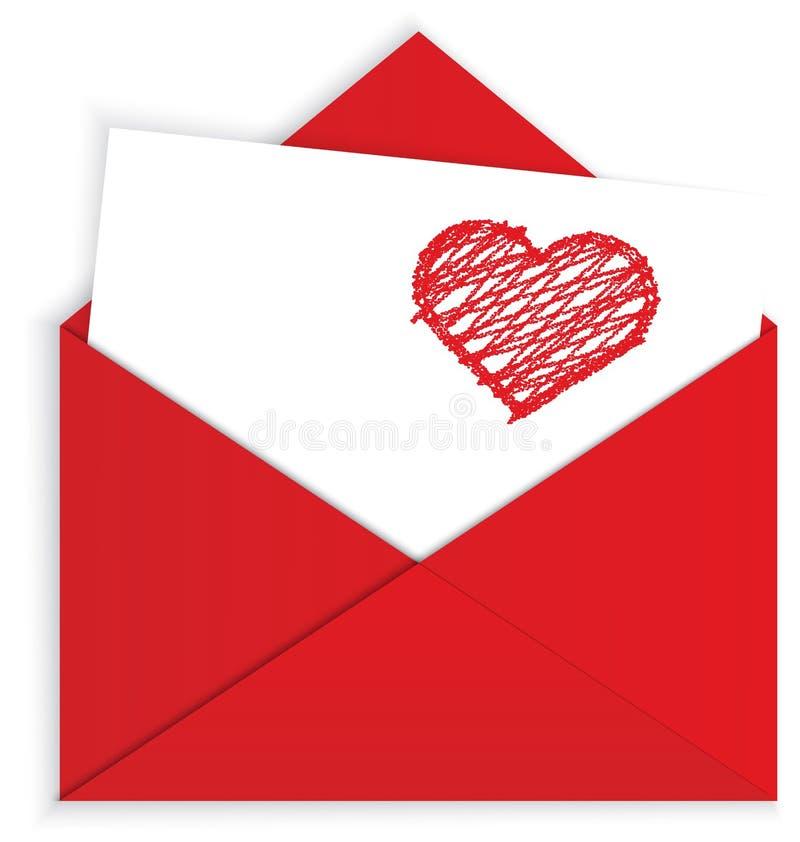 Hjärtacrayon på röd kuvertvektor royaltyfri illustrationer