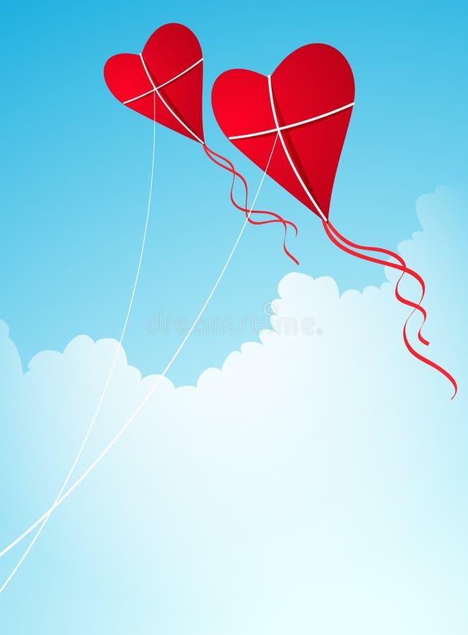 hjärtadrakar formade skyen stock illustrationer