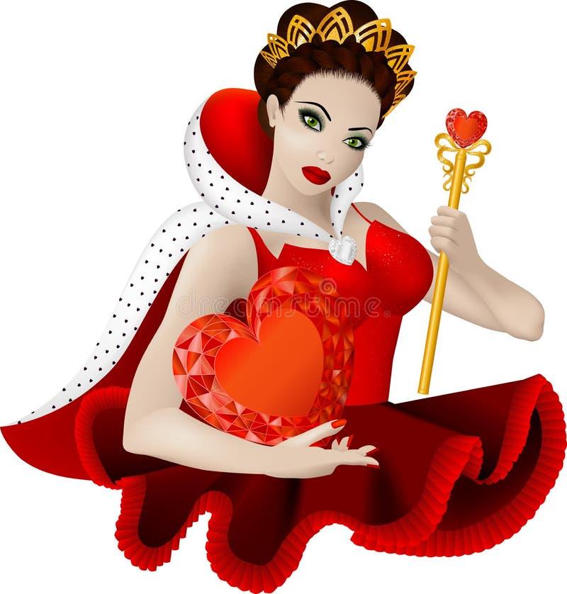 hjärtadrottning royaltyfri illustrationer