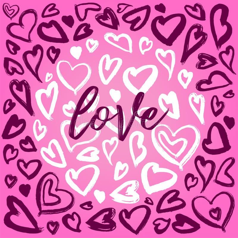 Hjärtafärgpulverillustrationer, cirkelstrukturhjärtor, hjärtabakgrunder med glam vaggar stil royaltyfri illustrationer