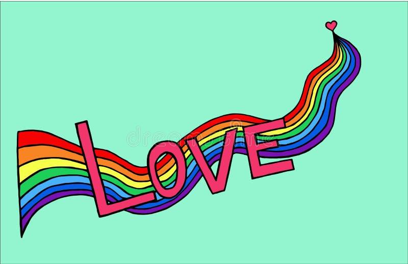 Hjärtafödelseförälskelse med regnbågen Hand-dragit också vektor för coreldrawillustration stock illustrationer