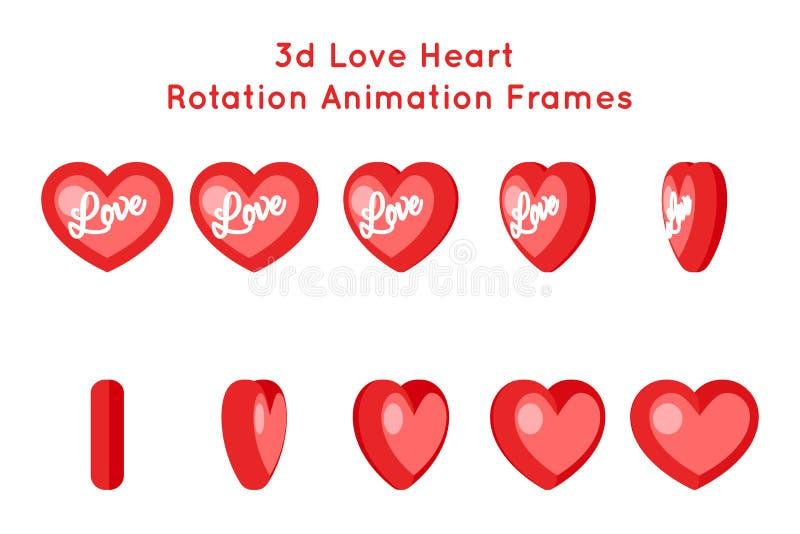 Hjärtaförälskelse animeringen för rotation för valentindagen som 3d inramar isolerade symboler, ställde in den plana designvektor stock illustrationer